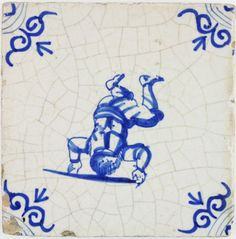 Antique Dutch Delft tile with a child standing on his head, 17th century