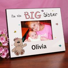 Personalized I'm the Sister Teddy Bear Printed Frame