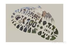 National Park Service Centennial - Footprint Prints by Lantern Press at AllPosters.com
