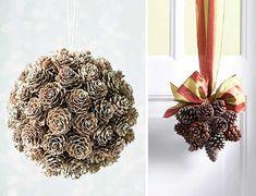 Декоративные шары из шишек