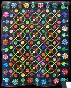 Sarah Fielke Quilts, Rainbow Quilt, Cute Quilts, Thread Painting, Quilt Patterns, Quilting Ideas, Extra Fabric, Applique Quilts, Dark Backgrounds