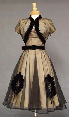 Original 1950's acetate and black velvet cocktail dress, Claudia Young.