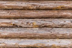 weathered and cracked wooden log wall closeup