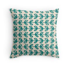 'Cute Hand Drawn Leaves Teal Pattern' Throw Pillow by Teal Throw Pillows, Floor Pillows, Framed Prints, Canvas Prints, Hand Drawn, Duvet Covers, How To Draw Hands, Leaves, Tote Bag