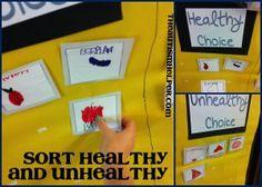 Student created healthy food sorting activity!  theautismhelper.com