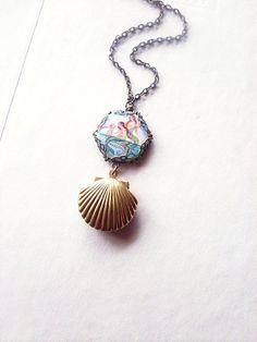 The Secret Life of Mermaids III - Mermaid Seashell Locket Necklace - Cute Adorable Beach Boho Bohemian Elegant Romantic - Whimsical - Dreamy. $34.50, via Etsy.