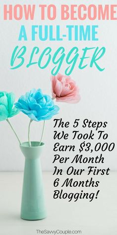 Simply the BEST how to become a full-time blogger article I have found! The steps they lay out are simple and easy to follow. I can't wait to grow my blog and start earning more income from home! #Blog #Tips #Marketing #Income #Traffic #Monetize