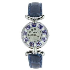 Murano Watches | Murano millefiori watch with leather band - blue