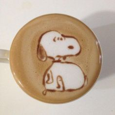 "I assure you, this design was intentional, it appears often on Snoopy's own social media feeds ""Snoopy latte art"""