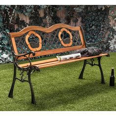 Furniture of America Etain Elegant Natural Oak Outdoor Bench