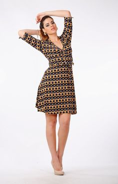Mustard marinha marrom do falso do vintage mulher wrap dress por MittmibyD