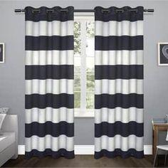 ATI Home Kids Rugby Stripe Sateen Blackout Grommet Top Curtain Panel Pair