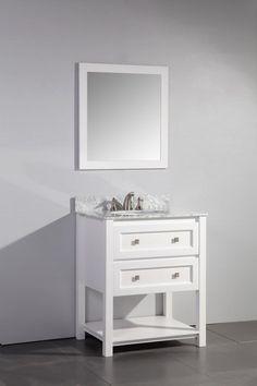 Legion Furniture Vanity Art Marble Top Single Sink Bathroom Vanity with Matching Framed Mirror 30 Inch Bathroom Vanity, Best Bathroom Vanities, Vanity Set With Mirror, Single Sink Bathroom Vanity, Bathroom Vanity Cabinets, Vanity Sink, Bathroom Furniture, White Bathroom, Bathroom Ideas