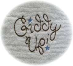 Machine Embroidered Western Giddy Up Vintage Chenille by teelady (Art & Collectibles, Fiber Arts, embroidery, machine embroidery, embroidered, vintage, quilt, charm squares, western, cowboy, made2match, 6 inch square, patchwork, giddy up)