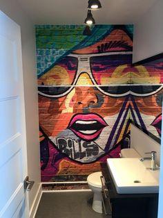Graffiti mural – bathroom – Decomurale inc. – Graffiti World Graffiti Wall Art, Graffiti Painting, Mural Art, Wall Murals, Wall Painting Decor, Toilet Design, Quirky Home Decor, Print Wallpaper, Cafe Interior