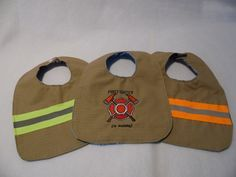Jr Firefighter Baby Bib | Firefighter EMS Bunker Gear and Turnout Gear Recycled Bags