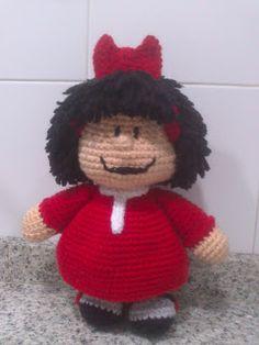 Mafalda Amigurumi - Patrón Gratis en Castellano - http://tallerdemao.blogspot.com.es/search/label/Mafalda%20%28P%29