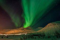 Aurora over Siglufjordur, Iceland.
