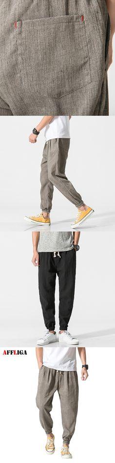 AFFLIGA 2017 New Fashion Men's Pants Cotton Linen Men Hip Hop Joggers Pants Trousers Men Comfortable Harem Pants Plus Size M-5XL