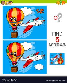Cartoon Illustration of Finding Five Differences Between Pictures Educational Game for Children with Plane and Hot Air Balloon , 4 Year Old Activities, Craft Activities For Kids, Preschool Activities, Spot The Difference Kids, Find The Difference Pictures, English Moral Stories, Kids Word Search, Felt Crafts Diy, Educational Games For Kids