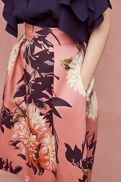 Grand Floral Midi Skirt - anthropologie.com