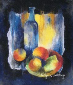 Felted wool painting Still Life with Lemon, 43x49cm - by Olga Levitskaya.