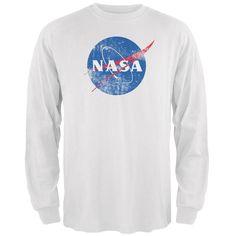 NASA Distressed Logo White Adult Long Sleeve T-Shirt d035e81ad