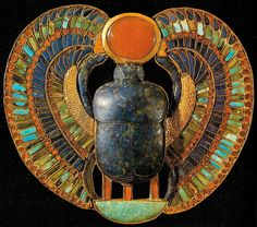 Scarab Pectoral from the Tomb of Tutankhamun in The Valley Of The Kings at Thebes.