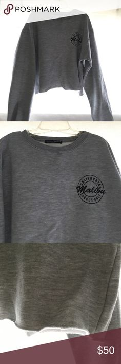 Cropped Crewneck Brandy Melville Grey; cropped; 'California Malibu Lovals Only' on it Brandy Melville Sweaters Crew & Scoop Necks