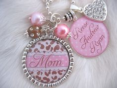 AUNT GIFT Mother necklace personalized Pink CHEETAH print  Bottle cap Jewelry Keychain Photo Charm jewelry Leopard Shabby Chic. $24.50, via Etsy.