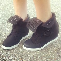 http://fancy.to/rm/466082667310355345  Kick bad style to the curb. #gojane #sneaker #wedge #sneakerwedge #studded #streetstyle #sneakerhead #leather