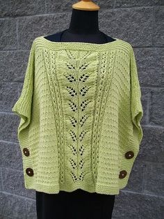Ravelry: Summer Leaf Poncho-Muster von Michele C Meadows - special knitting and crochet patterns Knit Cardigan Pattern, Crochet Poncho, Knitted Shawls, Crochet Vests, Crochet Edgings, Crochet Motif, Pullover Design, Sweater Design, Easy Knitting Patterns