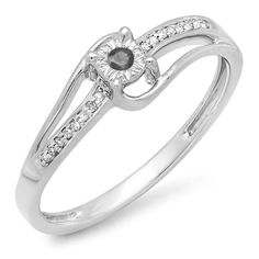 0.10 CT 14K White Gold Round White and Black Diamond Wave Ladies Bridal Promise Engagement Ring 1/5 CT *** Discover this special product, click the image : Promise Rings Jewelry