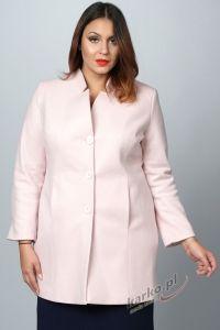 Płaszcz  flauszowy zimowy elegancki stójka pudrowy róż