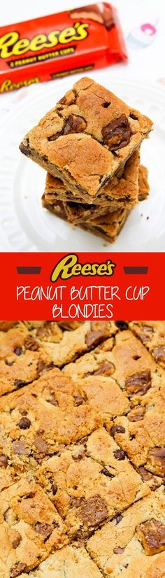 Reese's Peanut Butter Cup Blondies Recipe by Sweet2EatBaking.com – Made with…