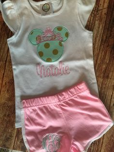 Minnie Mouse Tee and Monogrammed Shorts  by Rubyandoliver on Etsy
