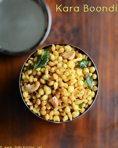 Spicy Boondi recipe - flavored with crushed black pepper and garlic, ghee fried cashew nuts