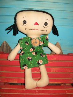 Primitive Raggedy Ann Doll IRELAND Handmade by tagalongstreasures, $15.00
