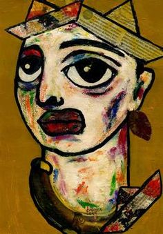 "Saatchi Art Artist CARMEN LUNA; Painting, ""90-RETRATOS Expresionistas. Fragance."" #art http://www.saatchiart.com/art-collection/Painting-Assemblage-Collage/Expressionist-Portrait/71968/51263/view"