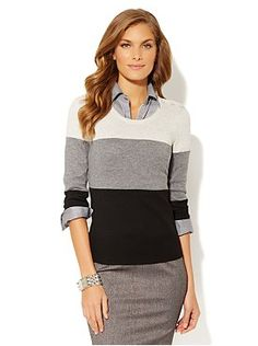 Colorblock Button-Shoulder Pullover from New York & Company