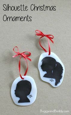 Homemade Silhouette Christmas Ornaments using shrink film and Sharpies! Easy DIY ornament keepsakes that make great gifts for parents and grandparents! ~ http://BuggyandBuddy.com