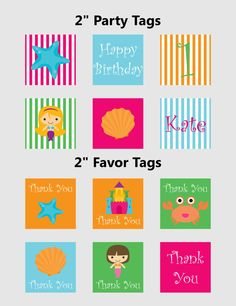 Printable Favor Tags | Printable Party Tags | Mermaid Party | Customised Download PDF by JJPrintables on Etsy