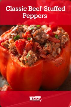 Stuffed Peppers Ground Beef, Ground Beef And Spinach, Easy Stuffed Peppers, Recipe For Stuffed Peppers With Rice, Beef Dishes, Food Dishes, Mexican Food Recipes, Diner Recipes, Ethnic Recipes