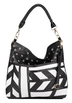 Camden now dons a graphic and playful black and white pattern, with a combination of textured leather play and funky white on black grommets. This girl gets the Camden, White Patterns, Luxury Handbags, Cute Babies, Black And White, Leather, Blue, Group, Board