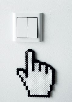 Sweet and funny detail for home's electrical outlets - diy with hama beads