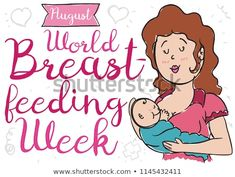 Lovely mom and baby over a background with hearts, streamer and cross doodles to promote awareness for World Breastfeeding Week in August. World Breastfeeding Week, Mom And Baby, Royalty Free Stock Photos, Doodles, Hearts, Illustration, Illustrations, Donut Tower, Doodle
