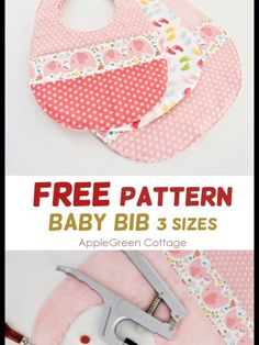 Baby Bib Pattern - The Best Free Baby Bib Pattern in 3 Sizes - AppleGreen Cottage - - Baby bib pattern in 3 sizes, easy and quick to sew. Get your free baby bib pattern now and make the cutest bib for a baby or toddler! Easy Baby Sewing Patterns, Baby Clothes Patterns, Baby Sewing Projects, Sewing Projects For Beginners, Sewing Tips, Sewing Hacks, Burp Cloth Patterns, Free Sewing, Pattern Sewing