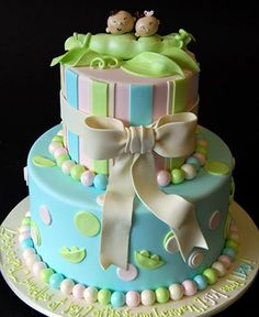 Twin Baby Shower Cake #Twins | Couture Meets Chic | Pinterest | Shower Cakes,  Twins And Cake