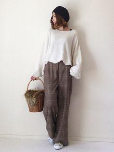 去年のStradivariusのニット引っ張り出してきて グレンチェックパンツに合わせてみました(^ Normcore, How To Wear, Japan, Style, Fashion, Swag, Moda, Fashion Styles, Fashion Illustrations
