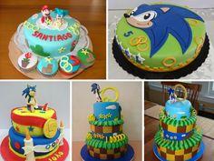 Bolo do sonic redondo Bolo Sonic, 4th Birthday, Birthday Cake, Desserts, Masks, Cake Ideas, Decorating Cakes, Kids Part, Decorating Ideas